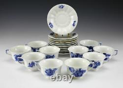 10pc Set Royal Copenhagen Blue Flower Angular Porcelain Footed Cup & Saucers