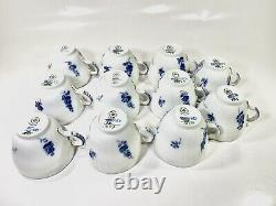11x Royal Copenhagen Blue Flower 1549 Gold Rim Coffe Cup and Saucer