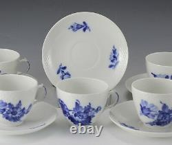 12pc Royal Copenhagen Braided Blue Flower Cups and Saucers, hand painted floral