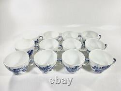 12x Royal Copenhagen Blue Flower1549 Coffee Cup and Saucer Scandinavian Design