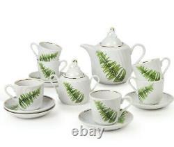 14-pc Porcelain Tea Set with Botanical Pattern by Dobrush Belarus FERN PLANT
