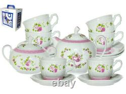 14-pc Porcelain Tea Set with Floral Pattern by Dobrush Belarus Pink Marquise