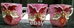 14 pc. Vintage Pink & Gold Raised Flower small tea Cup teacup Saucer Set GERMANY