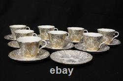 17pc Vintage Colclough GOLD FLOWERS Floral Chintz Footed Cup Saucer Set, England