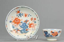 18C Chinese Porcelain Tea Cup Saucer Tea Drinking Imari Flowers