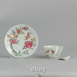 18C Yongzheng Chinese porcelain cup saucer Famille Rose Birds Flowers