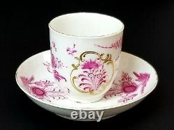18th Century Dr. Wall Worcester Finely Painted Puce Floral Cup and Saucer