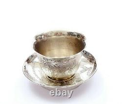 1930's Chinese Solid Silver Flower Wine Tea Cup & Saucer Marked