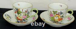2 Herend HUNGARY FRUITS & FLOWERS BASKET WEAVE MOCHA CUPS & SAUCERS