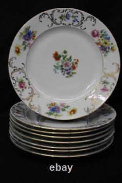 24pc Vintage Victoria DRESDEN FLOWER Cup, Saucer, Luncheon Set, Czechoslovakia