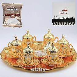 27 CT Ottoman Turkish Greek Arabic Coffee Espresso Serving Cup Saucer (Gold)