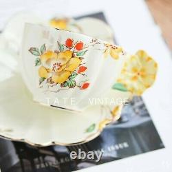 2pc Art Deco rare Paragon flower handle tea cup and saucer