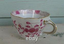 3pc Coffee or Tea Cup Set Meissen Indian Flowers