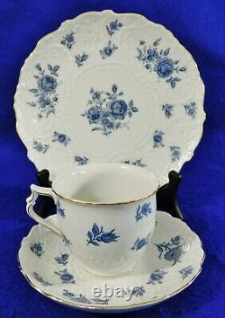 3pc Trio Set DRESDEN Blue White FLOWERS Gold Trim Tea Cup Saucer & Dessert Plate