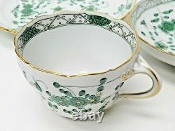 3x Meissen Oriental Flower Green Tea Cups & Saucers & Desert Plates Free S&H