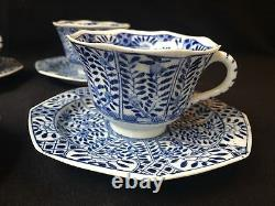 4 19C Chinese Porcelain Cup & Saucer Blue White'Flowers' Antique Kangxi Marked