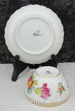 (4) Hermann Ohme Handpainted Dresden Flowers German Porcelain Tea Cups & Saucers