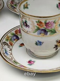 4 Schumann Bavaria Demitasse Cup and Saucer Set Empress Dresden Flowers