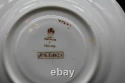(4)Wedgwood English Bouillon Cups Saucer Pink Rose Blue Flower Gold Border(Y545)