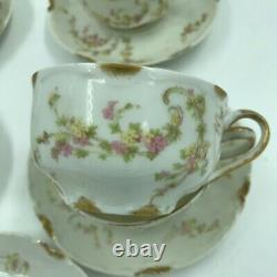 5 Haviland & Co. Limoges, France, Pink Flowers, Gold trim Cups & Saucers