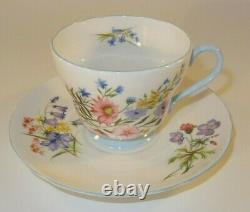 6 Vintage Shelley Wild Flowers 13668 Blue Footed Cup & Saucer 1960's Excellent