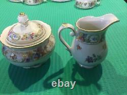 6 Vtg Schumann Germany Empress Dresden Flowers Tea Cup & Saucers With Creamer Bowl