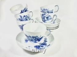 6x Royal Copenhagen Blue Flower1549 Coffee Cup and Saucer Scandinavian Design