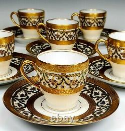 8 Beautiful Elite Limoges Heavy Gold Gilt Blue Flowers Cups And Saucers Sets