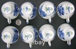 8 Royal Copenhagen BLUE FLOWER Demitasse Coffee Cups Saucers 10/8040 Braided