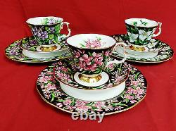 9 Pc. Royal Albert Provincial Flowers Trio Salad Plates, Cups, and Saucers