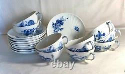 9 Royal Copenhagen Blue Flowers Scalloped Flat Cups And Saucers