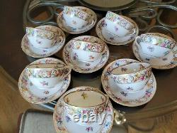 ANTIQUE Small TEA Cups & Saucers Schumann Empress Dresden Flowers LOT OF 8