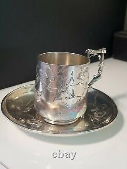 ART NOUVEAU Antique Sterling Silver Tea Cup & Saucer, Engraved Birds Flowers