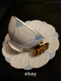 AYNSLEY FLOWER DESIGN GOLD BUTTERFLY HANDLE CUP AND SAUCER SET-WHITE and BLUE