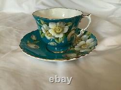 AYNSLEY Turquoise Cup & Saucer White APPLE Blossom