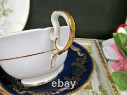 AYNSLEY tea cup and saucer painted flowers signed Bailey cobalt blue teacup set