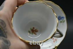 Ambrosius Lamm Dresden German Hand Painted Flowers & Gold Tea Cup And Saucer Set