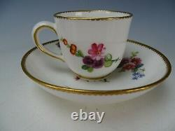 Antique 18c Sevres Porcelain Hand Painted Flowers Cup and Saucer