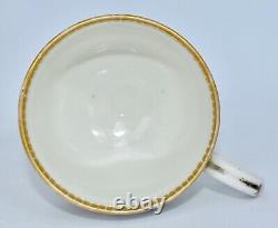 Antique 18th Century DR WALL Worcester Tea Cup & Saucer Set Flowers w Gilt