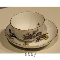 Antique 19th Original Rare Cup and Saucer Meissen flowers Porcelain Marked 12cm