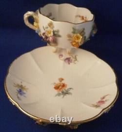 Antique 19thC Meissen Porcelain Applied 3D Flowers Cup & Saucer Porzellan German