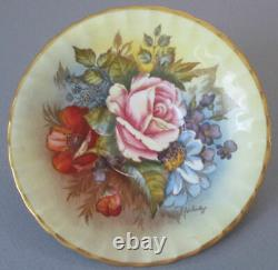 Antique AYNSLEY English Bone China GILT Footed Cup + Saucer BAILEY Roses Flowers