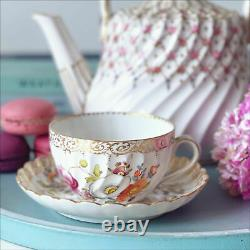 Antique Dresden cup and saucer, handpainted flowers