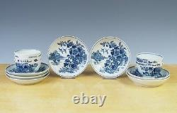 Antique English Worcester Set of 6 Cup & 7 Saucers Flowers Circa 1780 Marked