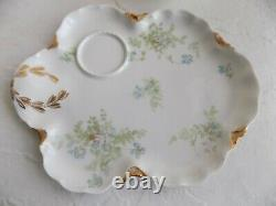 Antique Haviland H&Co Limoges Blue Flowers Cup & Saucer SNACK PLATE SET