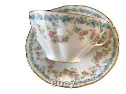 Antique Havilland Limoges Hand Painted Blue Flowers /Gold Full Size Cup & Saucer