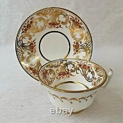 Antique Hicks & Meigh Porcelain Cup and Saucer Gilt Trumpets and Flowers 792