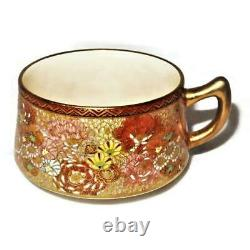 Antique Japanese Satsuma Shimazu Millefleur Thousand Flowers Cup & Saucer Set