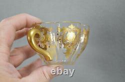 Antique Lobmeyr Bohemian Gold Floral Scrollwork Lobed Glass Tea Cup & Saucer A
