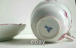 Antique Meissen Demitasse Cup & Saucer Scattered Mauve/Pink Flowers 1st Quality